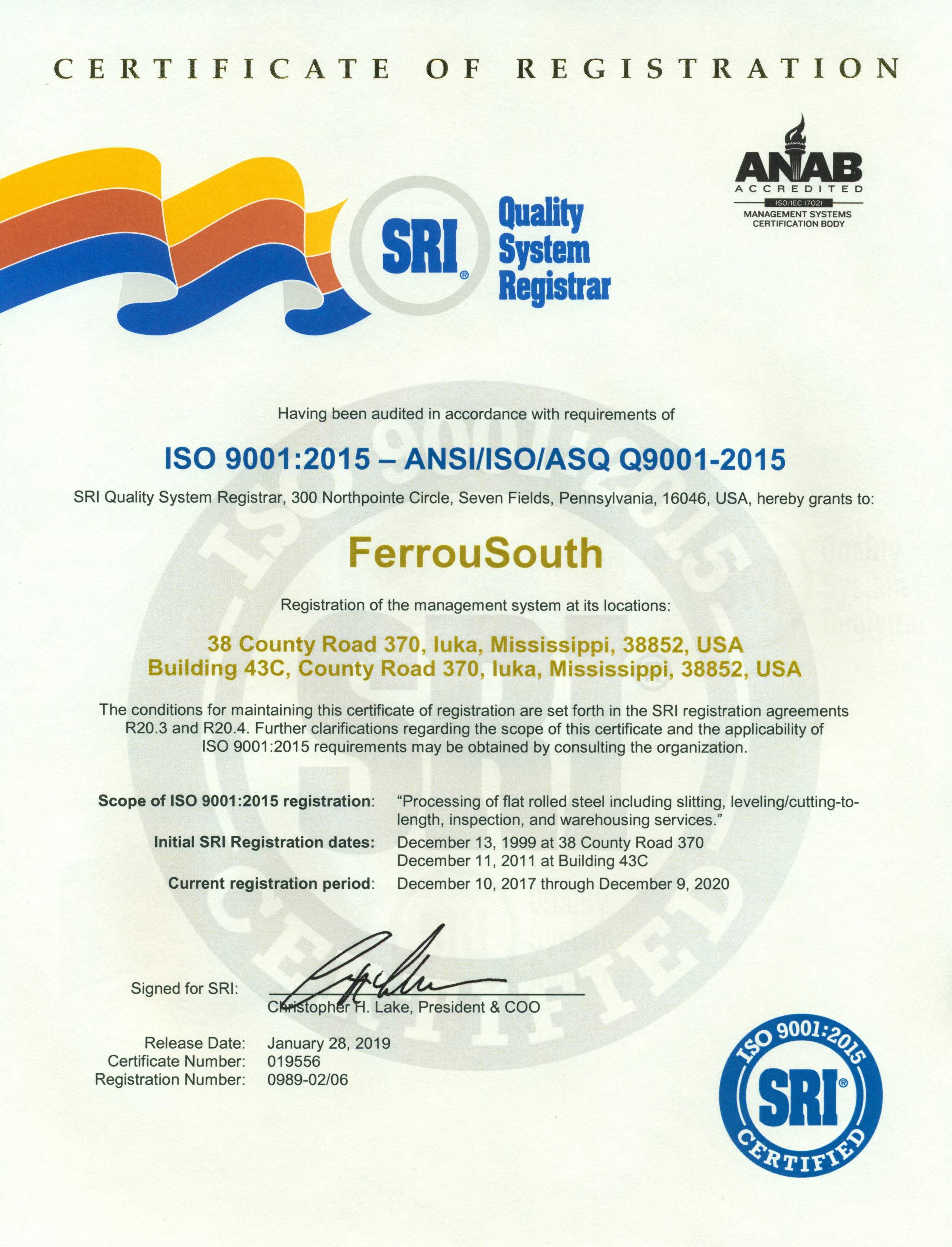 FerrouSouth ISO 9001-2015 (1-28-19 release)