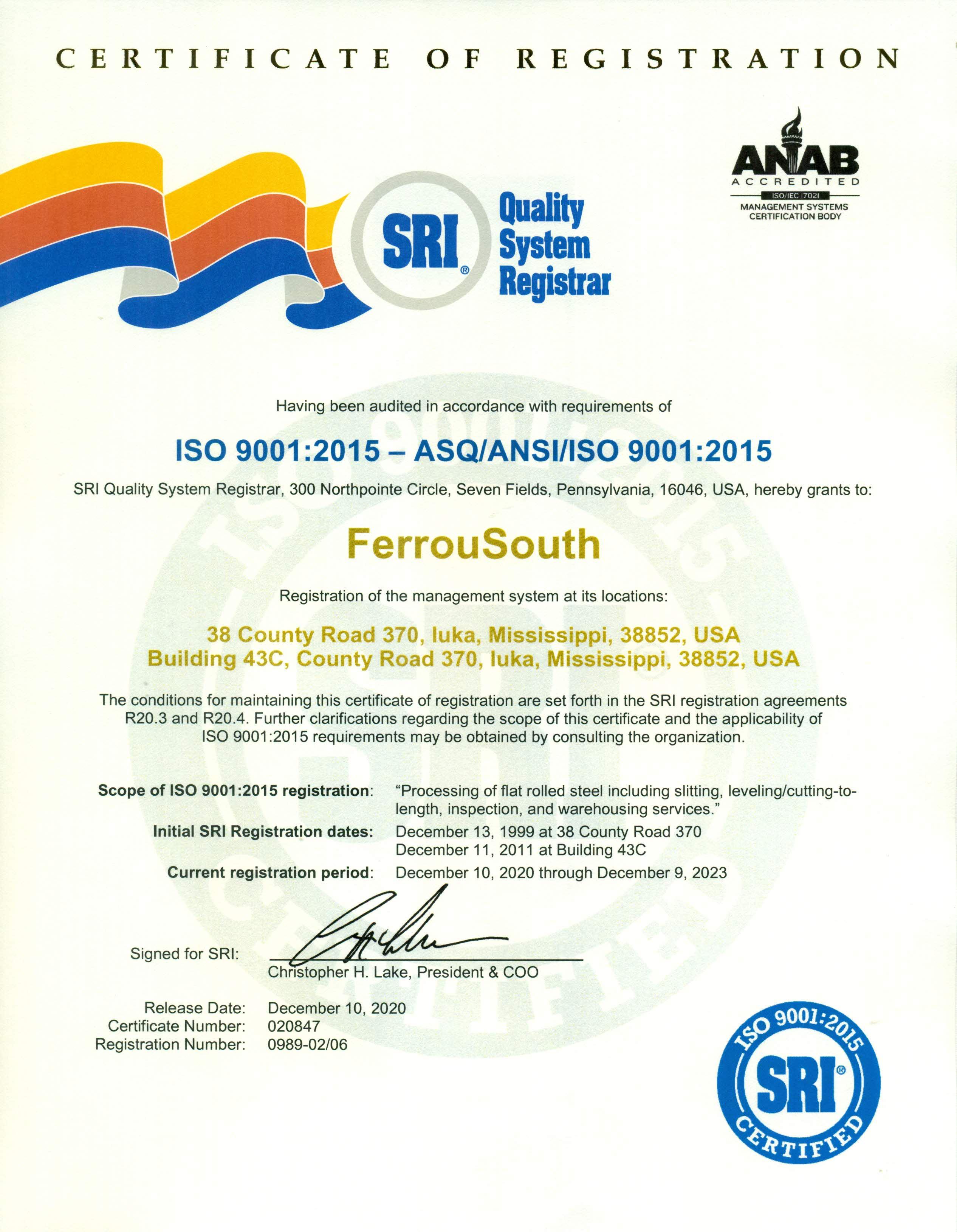 FerrouSouth ISO 9001-2015 Cert (good thru 12-9-23)